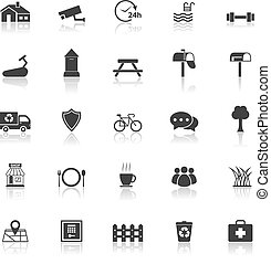Village icons with reflect on white background