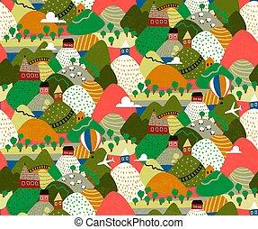 village, illustration., hills., coloré, paysages, vecteur