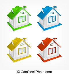 village, illustration., set., maison, petit, vecteur