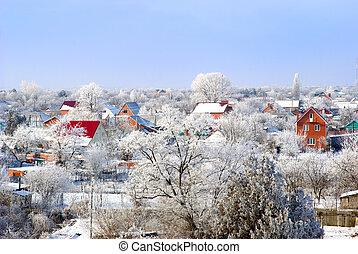 Village in a snow