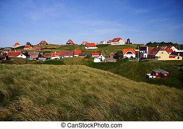 Idyllic houses in Loenstrup, Northern Jutland, Denmark. Summer.