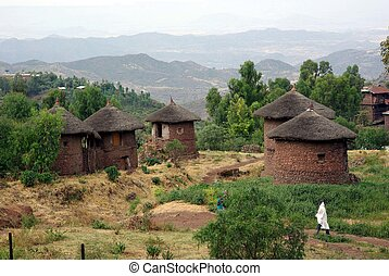 A traditional African village in Lalibela, in Ethiopia