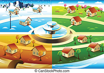 Village in four season