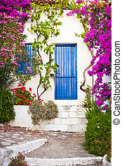 Village in Greece - Colorful plants in the Old Village,...