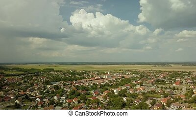 Summer village and countryside aerial drone shot in Halaszi, Szigetkoz, Hungary