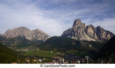 Village in Italian Alps, Dolomites - time-lapse