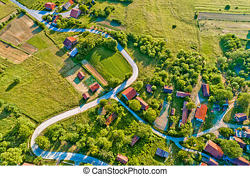 Village in rural Croatia aerial view, Apatovec in Prigorje...