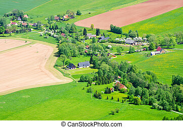 Village in the agricultural terrain