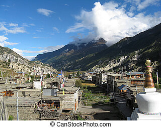 village in the mountains - the nepali village Manang in the ...