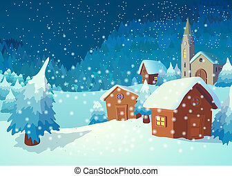 Village in the night - Christmas greeting card with a...