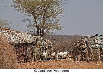 village in the savannah in Kenya