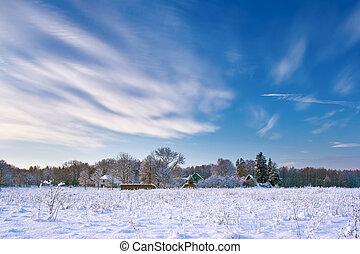 Village in winter morning
