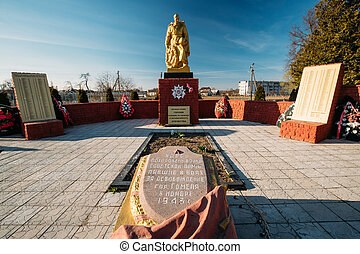 Village Krasnoe, Gomel Region, Belarus. Monument To Heroes Who Died In The Battles For Liberation Of Gomel In November 1943 At Great Patriotic War