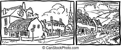 Village landscape - black and white illustration