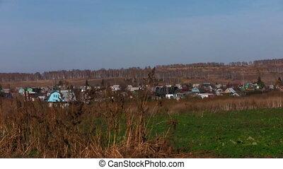 Village landscape in autumn