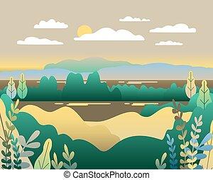 Village landscape in trendy flat style vector illustration. Moun