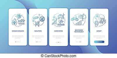 Village lifestyle hardship onboarding mobile app page screen with concepts. Living conditions in countryside walkthrough 5 steps graphic instructions. UI vector template with RGB color illustrations