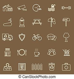 Village line color icons on brown background