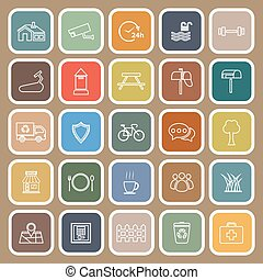 Village line flat icons on brown background