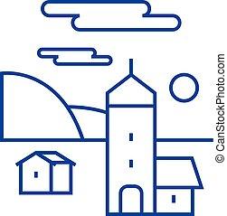 Village line icon concept. Village flat  vector symbol, sign, outline illustration.