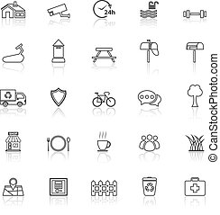 Village line icons with reflect on white background