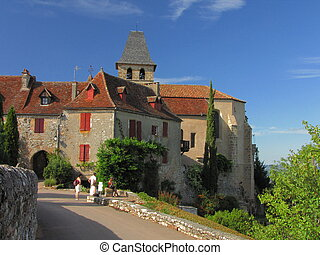 Village Loubressac, church, houses