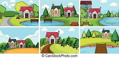 village, maison, ensemble, rural