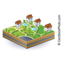 village, maisons