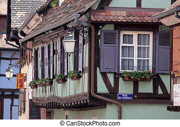 village, maisons, demi-timbered, centre