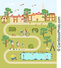 village map with road - Cartoon village map with road, house...