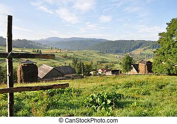 village montagne, dans, carpathians