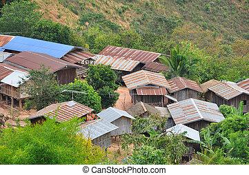 village montagne, dans, thaïlande