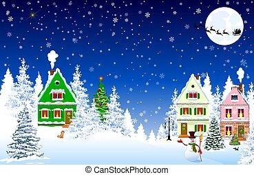 village, noël, scène neige, nuit, maison