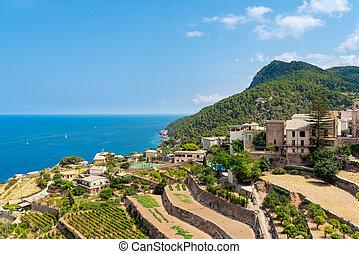 village of Banyalbufar on balearic island of Mallorca