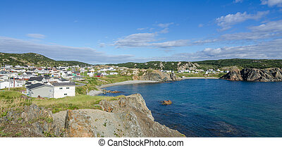 Village of Crow Head Newfoundland, view from cliff toward town.