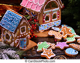 Village of gingerbread houses in preparing for Christmas.
