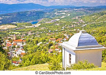 Village of Hreljin above Kvarner bay scenic view, Rijeka ...