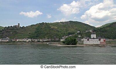 Village of Kaub skyline with castle Pfalzgrafenstein, Unesco...