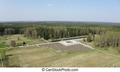 Village of Khatyn in Belarus. Part of Eastern Front of World War II Memorial. Monument to burned villages and genocide of Belarussian and Soviet Union people of CCCP or USSR.