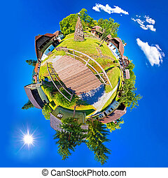 Village of Kumrovec countryside planet perspective panorama,...