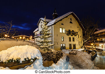 Village of Megeve on Christmas Illuminated in the Night,...