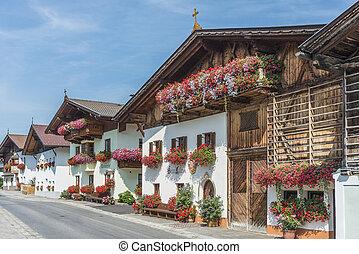 Architectural details in the village of Mutters near Innsbruck, Austria.