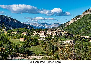 Village of Saint Julien du Verdon at Lac de Castillon in Provence, France
