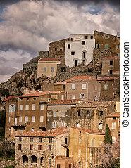 Village of Speloncato in the Balagne region of Corsica - The...