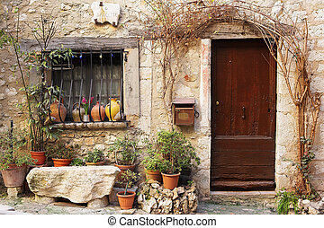 Village of St Paul - Street garden with Street name and...