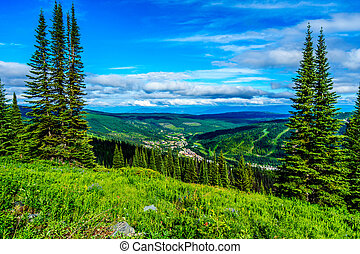 Village of Sun Peaks nestled in the Valley of the Shuswap Highlands in British Columbia, Canada