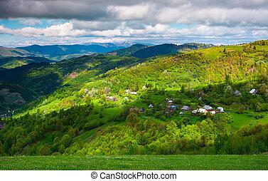 village on a forested hillside in springtime