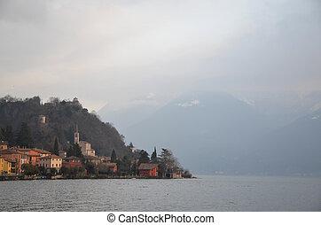 Village on an alpine lake