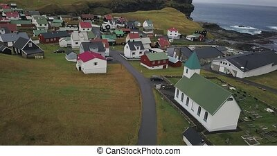 Village on Faroe Islands - Little village with multicolored...