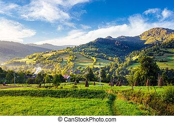 village on hillside meadow in mountain at sunrise